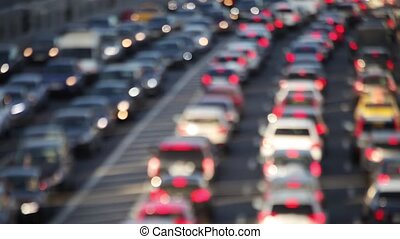 Car traffic on the road - Defocused car traffic on the road