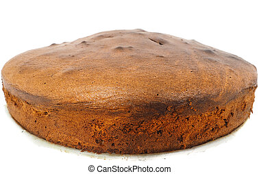 Closeup of freshly made round shaped chocolate cake base