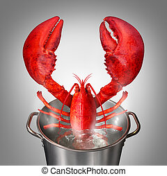 Lobster In Pot - Lobster in a pot as a fresh catch of the...