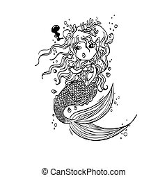 Doodle Mermaid Under the Sea Cartoo