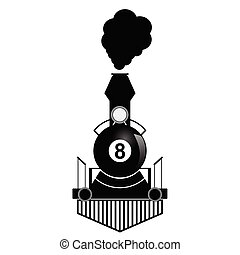train with eight ball illustration in black