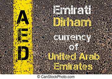 Acronym AED- EMIRATI DIRHAM currency - Concept image of...