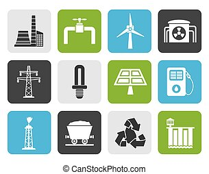 electricity industry icons - Flat Power and electricity...