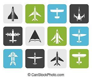 Flat different types of plane icons - vector icon set