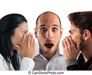 Talking in secret - Couple talking in secret to a man