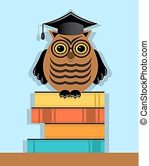 education and development - Owl graduate in cap sitting on a...