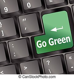 A keyboard with a key reading Go Green vector illustration