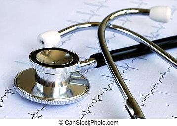 Um, Estetoscópio, topo, EKG, Mapa