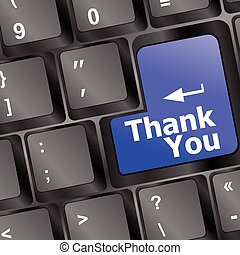 Computer keyboard with Thank You key, business concept vector illustration