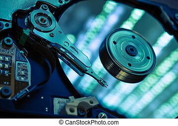 Data Recovery Concept. Secure Data Hard Drive Storage...