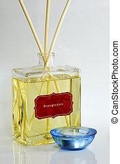 fragancia, aceite, perfumado, difusor, azul, vela, tenedor