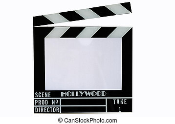 A Hollywood movie clapper board Clap slate, isolated in...