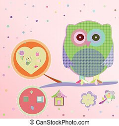 Invitation card - owls in love sitting on the branch, vector illustration