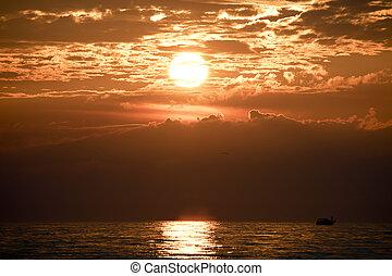 Lake Michigan sunset - Sunset over Lake Michigan