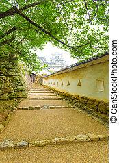 Himeji Jo Castle Inner Keep Stairs Framed Walls - Stone...