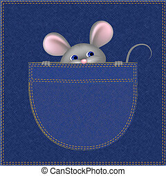 Mouse In Pocket - Little mouse in the pocket, digital...