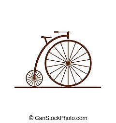 old bicycle color illustration