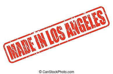 MADE IN LOS ANGELES RED STAMP TEXT ON WHITE