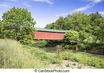 Covered Bridge Over Little Muskingum - The historic red...