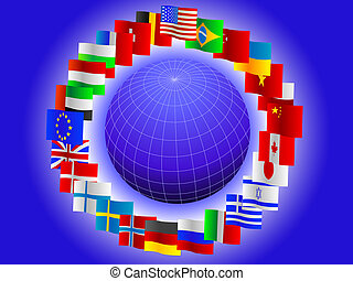 Background from globe and flags of the world in a vector