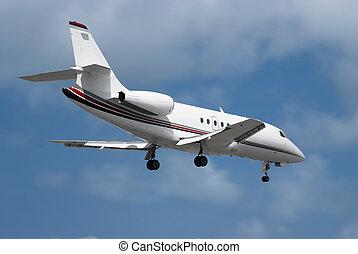 twin engine privet jet is landing