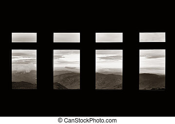 Top of mt Washington viewed through windows, New Hampshire.