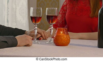 romance - video man and woman romantic evening in restaurant...