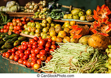Vegetable Market with mixed fruits and vegetables - Fruit...