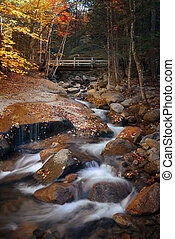 Colorful Autumn creek bridge, White Mountain, New Hampshire