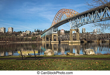 Pattullo Bridge and Railroad Track, - Pattullo Bridge and...