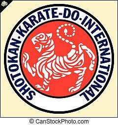 Karate shotokan tiger. Reb emblem Budo, Japan - Karate...