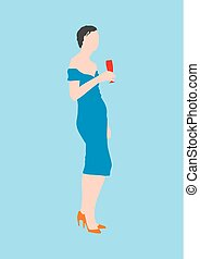 standing lady with glass of wine