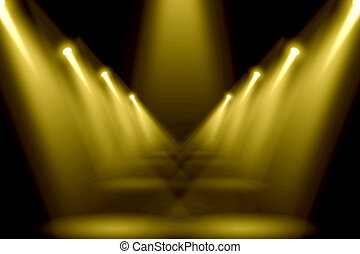 Abstract gold lighting flare on the floor center stage