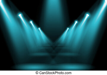 Abstract lighting flare on the floor center stage