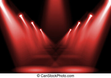 Abstract red lighting flare on the floor center stage