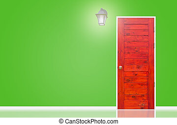 Wooden door and lamp with isolated green wall texture.
