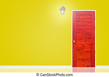 Wooden door and lamp with isolated yellow wall texture.