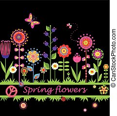Border with abstract spring flowers