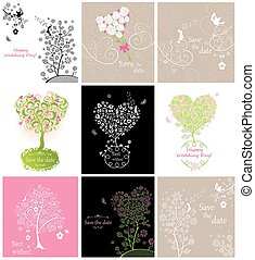 Collection of wedding vintage greeting cards with pair of...