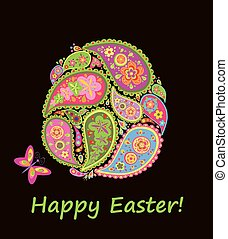 Decorative easter egg with paisley