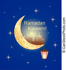 Greeting card for Ramadan with night sky, crescent and...