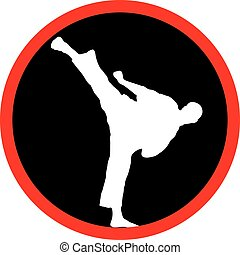 Karate high kick black logo - Karate high kick logo