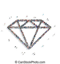 group people form diamond - Large group of people in the...