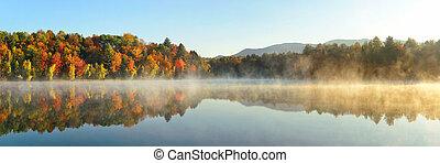 Lake Autumn Foliage fog - Lake fog panorama with Autumn...