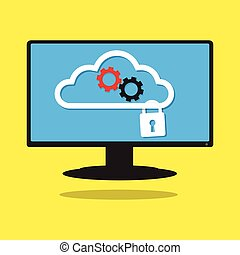 Computer work together on cloud with gear and security key...