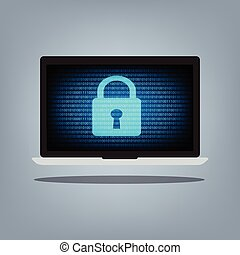 Laptop computer with blue binary code and key lock on desktop background. Vector illustration computer security concept.