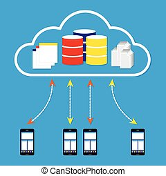 Mobile phones working on cloud with database application and document on cloud. Vector illustration cloud computing concept design.