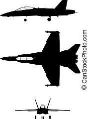F-18 - Silhouette of jet-fighter F-18