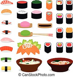 Asia food icons Sushi and sashimi, noodle and miso soup...