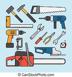 Working tools icons - Repair tools and construction tools...